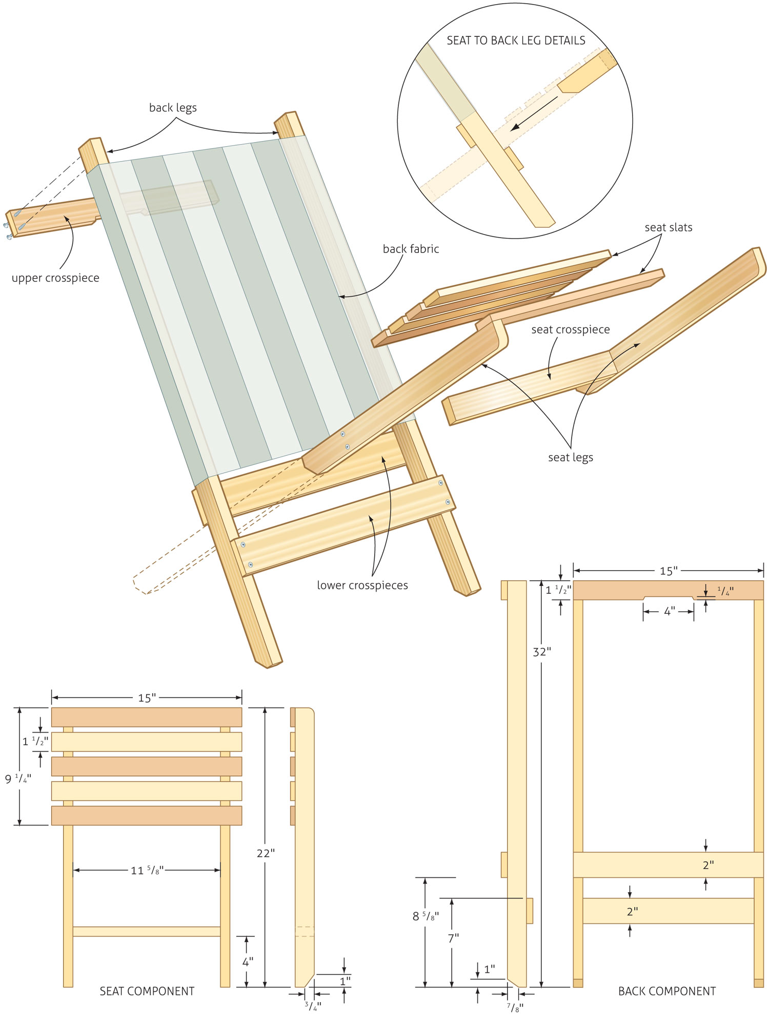 Charming Folding Beach Chair Woodworking Plans   WoodShop Plans