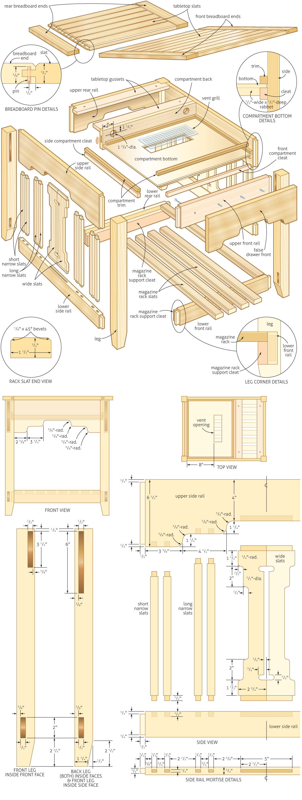Side table with laptop compartment woodworking plans for Bedroom end table plans