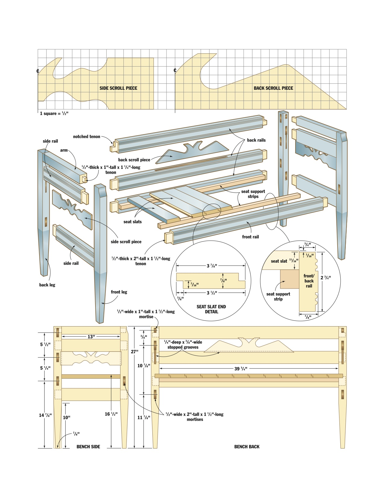 Woodworking Woodworking Plans Bench With Back Plans Pdf