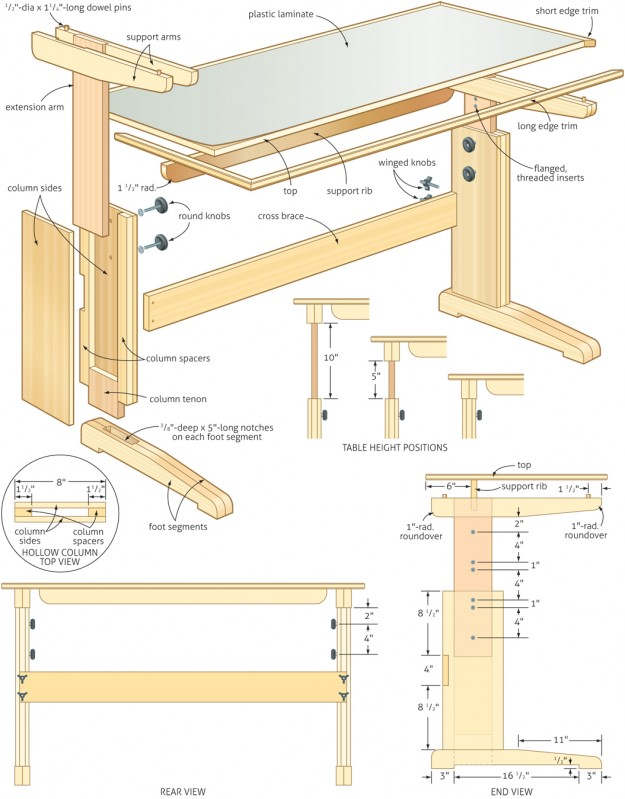 adjustable desk plans