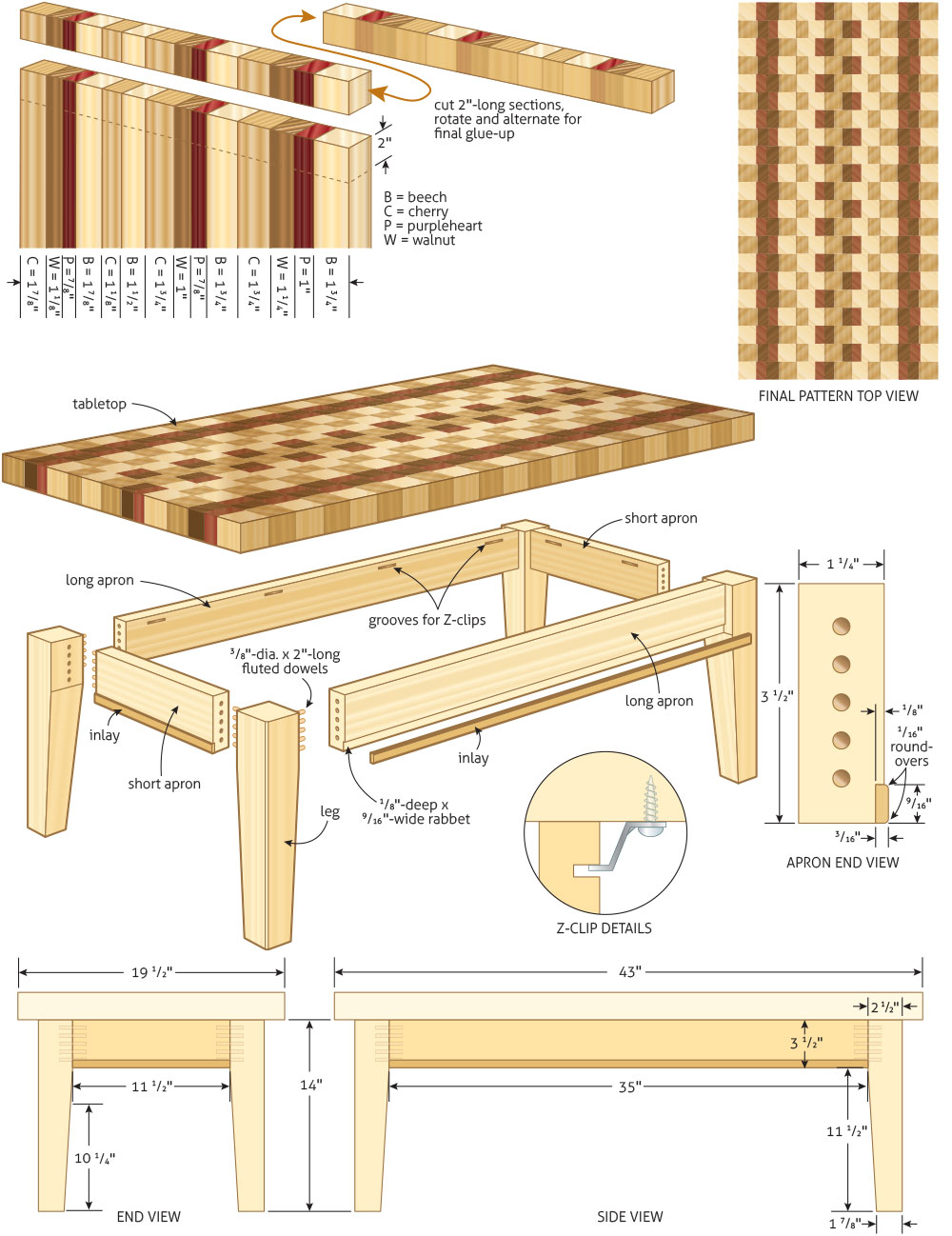 Coffee table woodworking plans woodshop plans for Table design plans