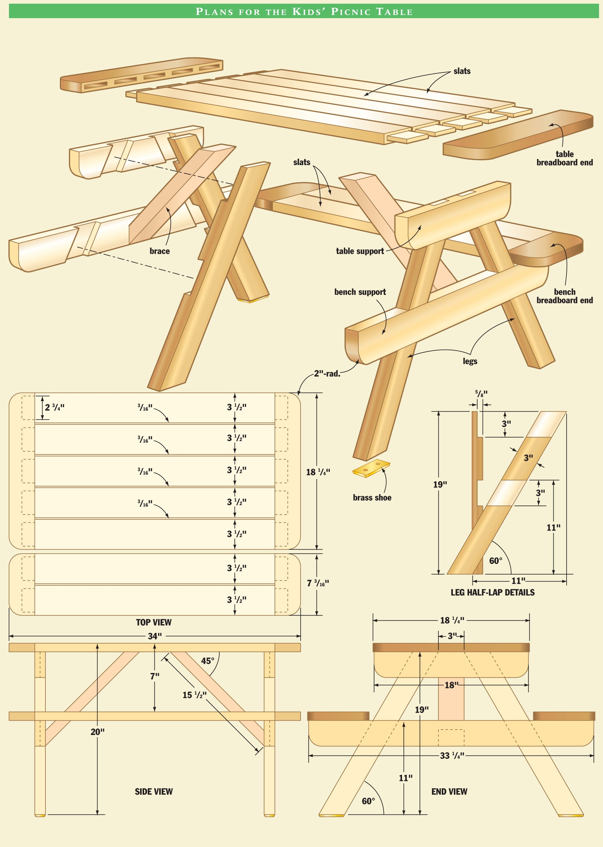 free plans for picnic table bench combo | Vintage Woodworking Projects