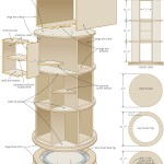 rotating bookcase woodworking plans 05