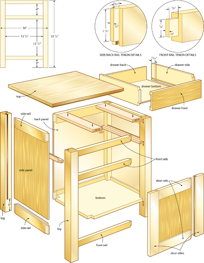 wood plans for nightstand