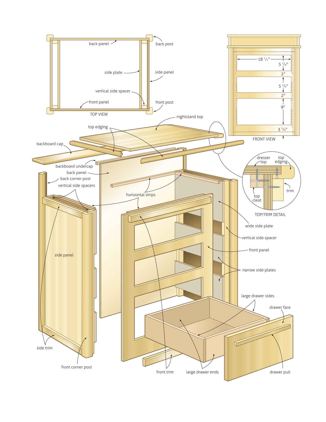 Wooden nightstand wood project plans pdf plans Project plans