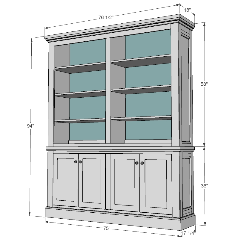 bookcase hutch plans