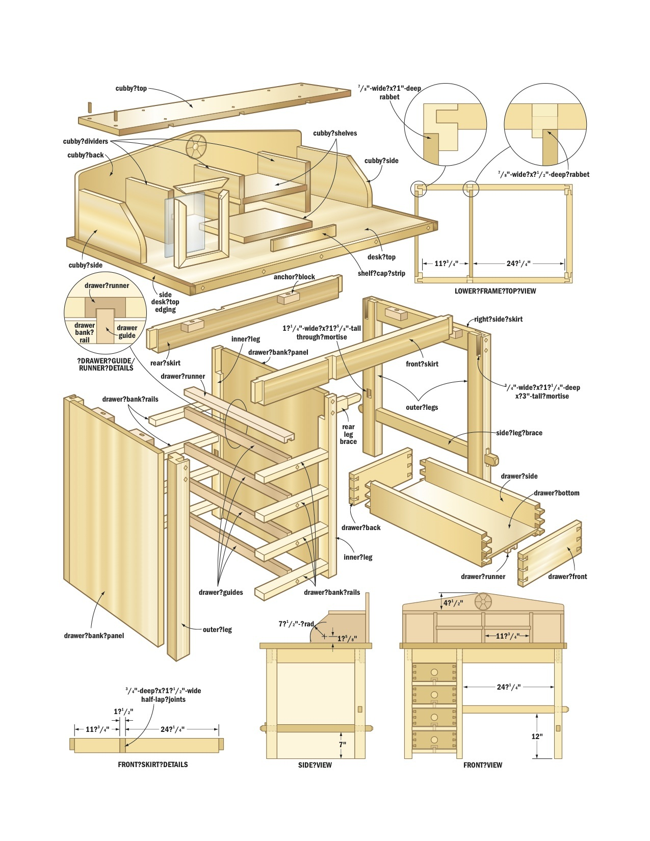 small wood desk plans