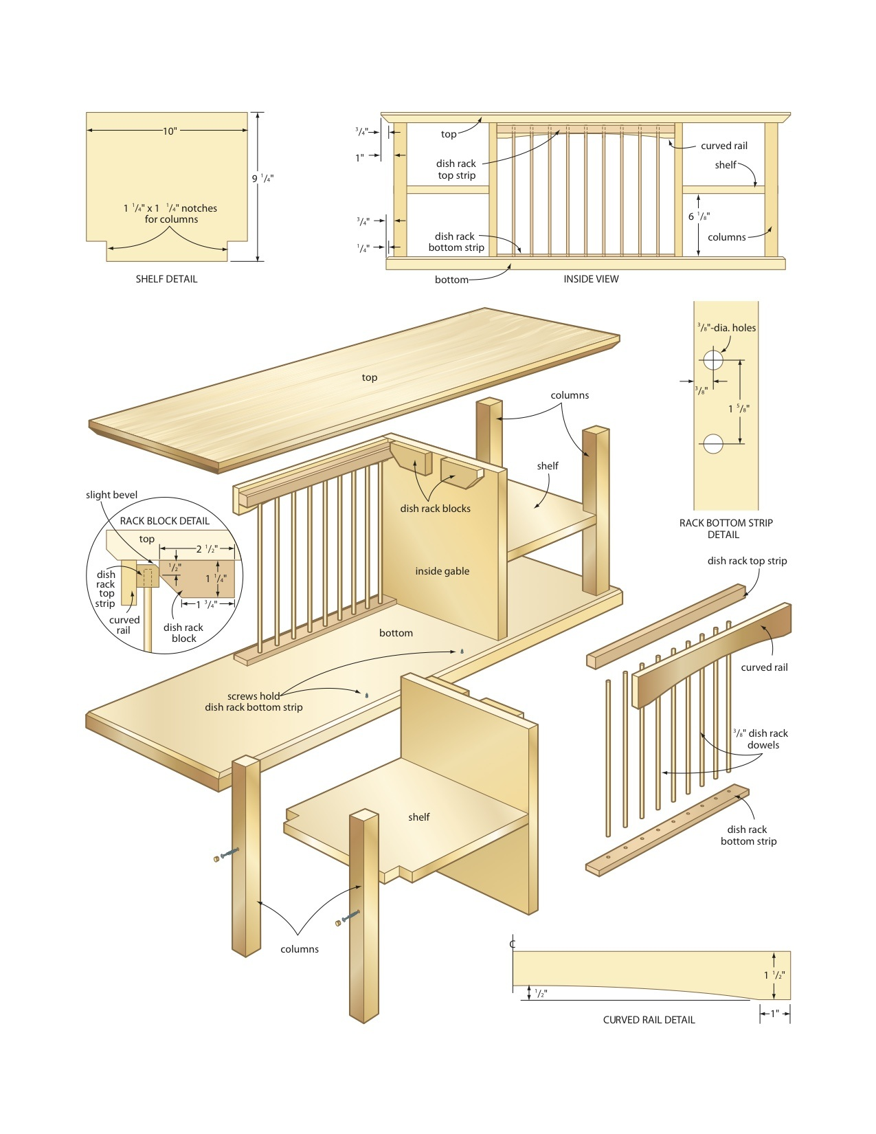 dish organizer rack woodworking plans - WoodShop Plans