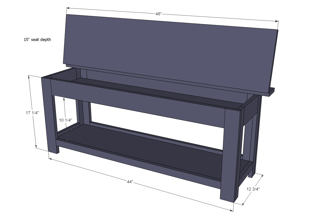 flip top storage bench woodworking plans - WoodShop Plans