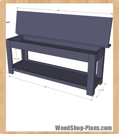 flip top storage bench woodworking plans