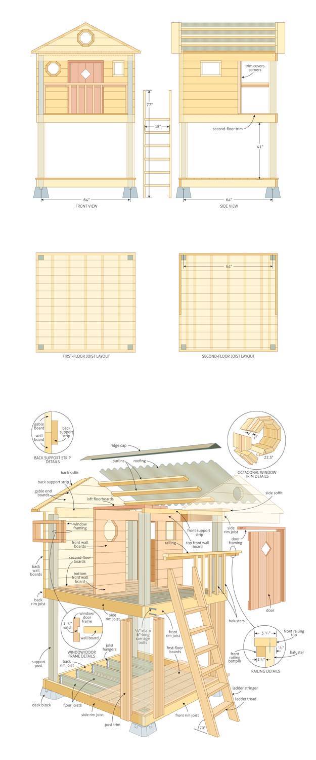 Outdoor playhouse plans with loft furnitureplans for Plans for childrens playhouse