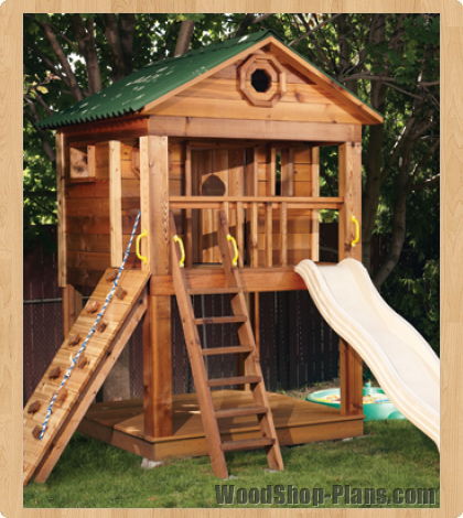Kids playhouse woodworking plans woodshop plans for Wooden playhouse designs