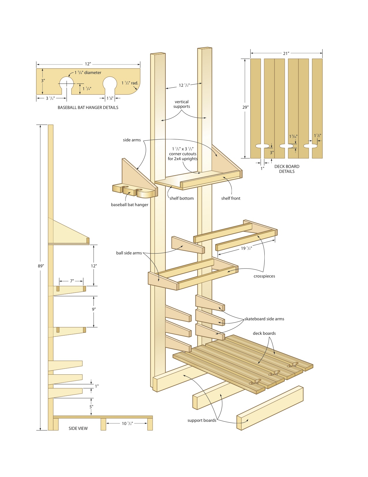 baseball bat rack plans