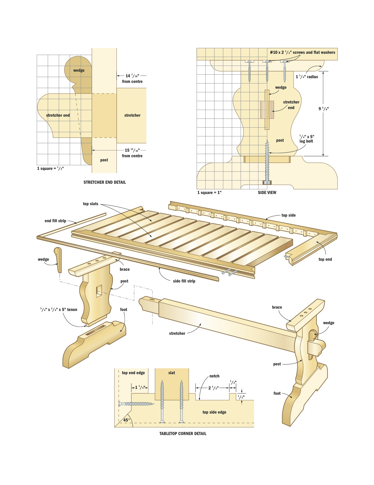 Pdf diy mission trestle dining table plans download for Breakfast table plans