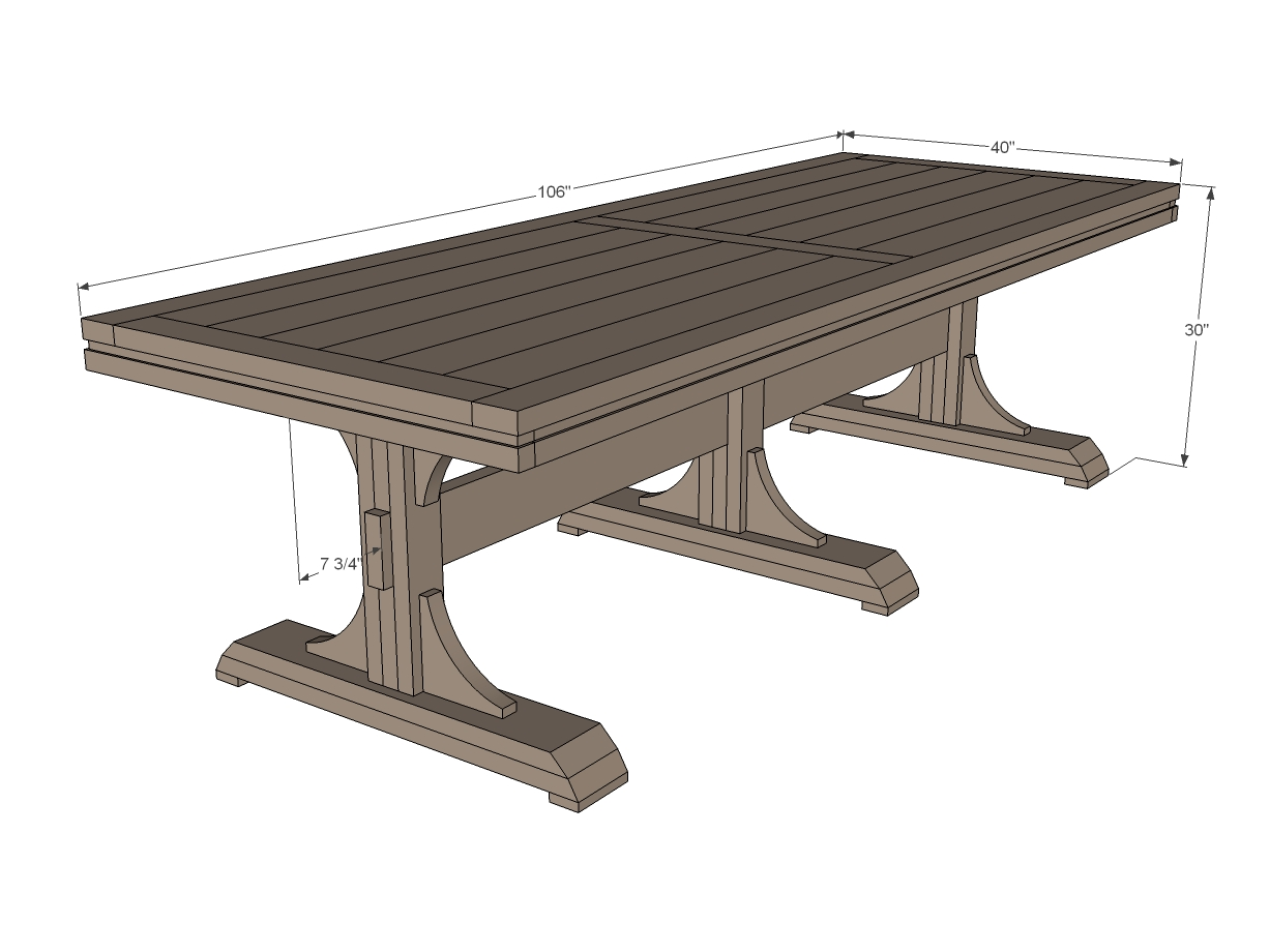 Triple Pedistal Farmhouse Table Woodworking Plans WoodShop