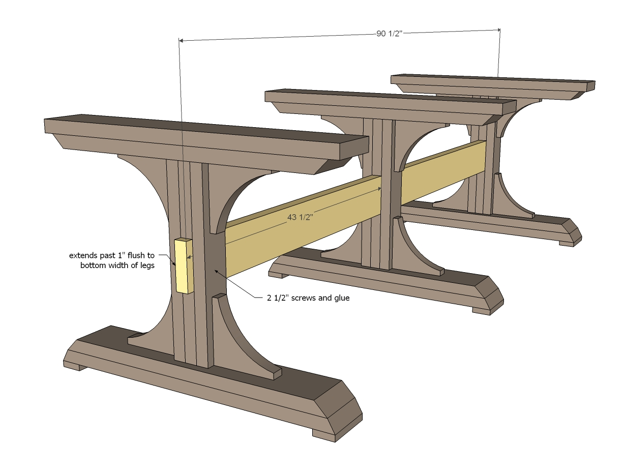 triple pedistal farmhouse table woodworking plans ...