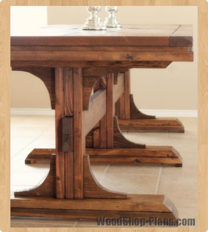 Triple Pedistal Farmhouse Table Woodworking Plans WoodShop Plans
