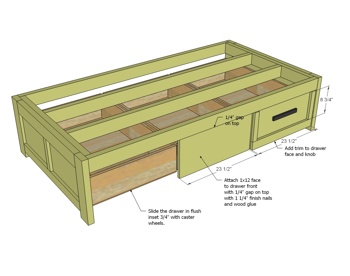Free woodworking plans bed with storage quick for Bed frame plans