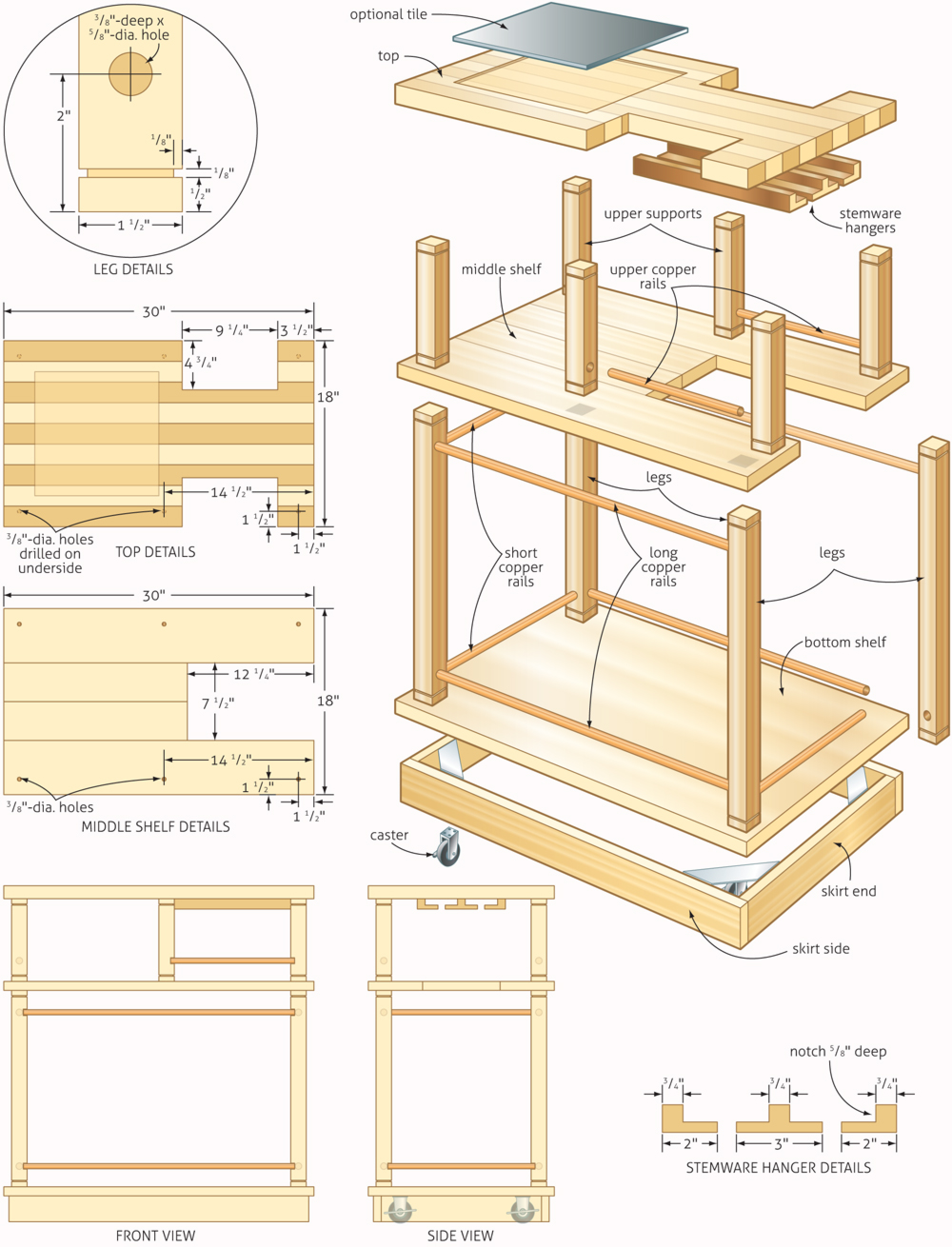 Rolling bar woodworking plans woodshop plans for Rolling lumber cart plans