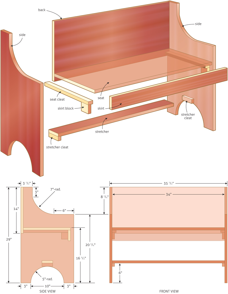 free woodworking plans bench seat