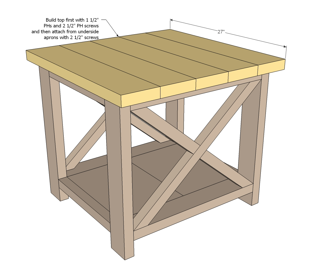 end tables from the rustic x end table plans i tweaked the original ...