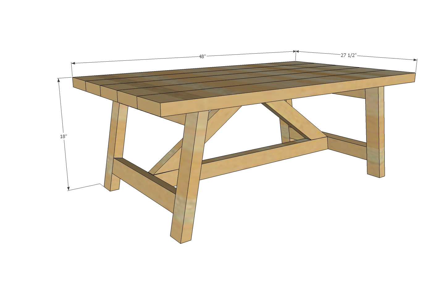 Truss coffee table woodworking plans woodshop plans for Working table design ideas