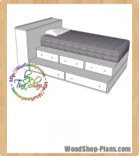twin bed step up storage woodworking plans