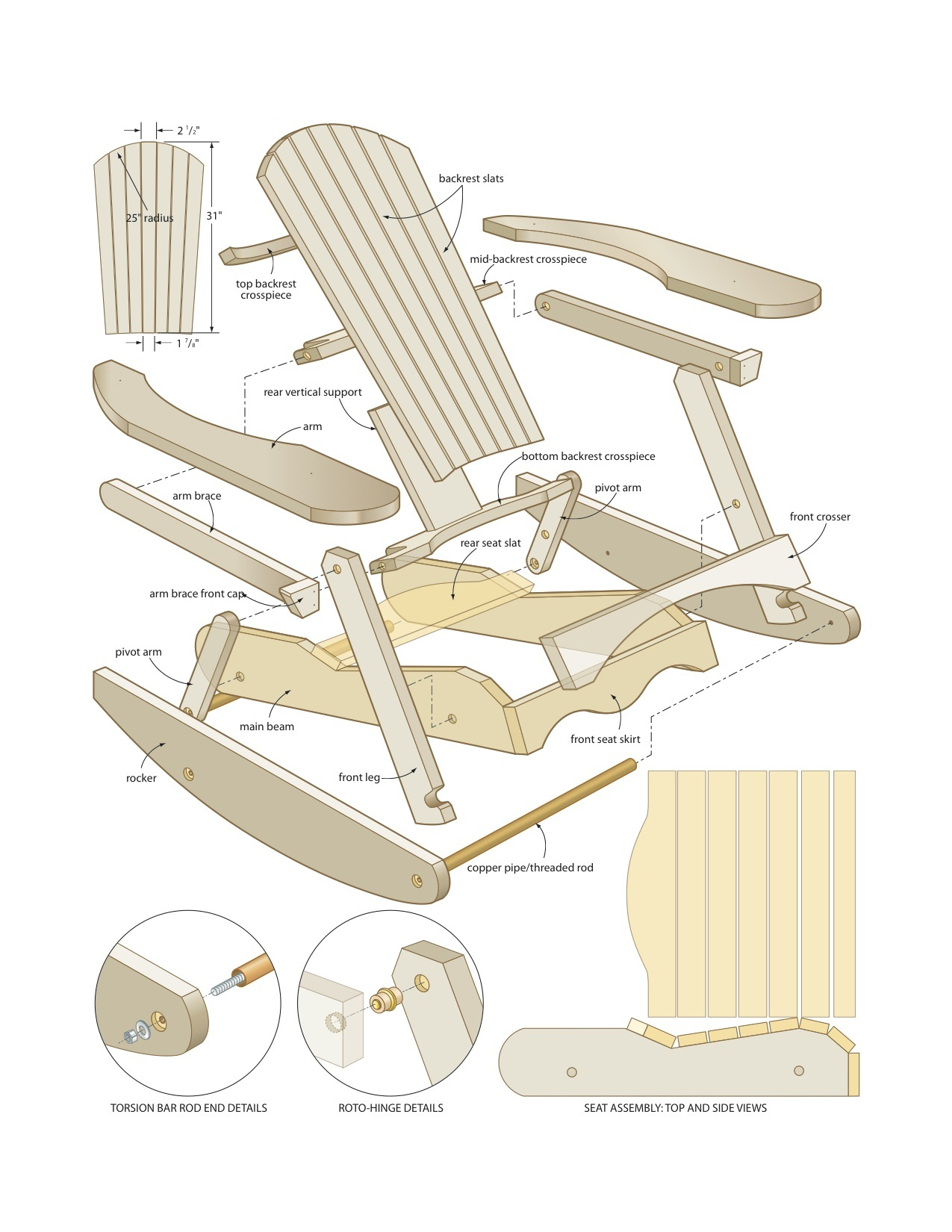 Pdf diy woodworking projects rocking chair download for Rocking chair design plans