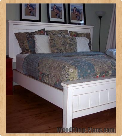 Queen farmhouse bed woodworking plans woodshop plans for Farmhouse bed plans
