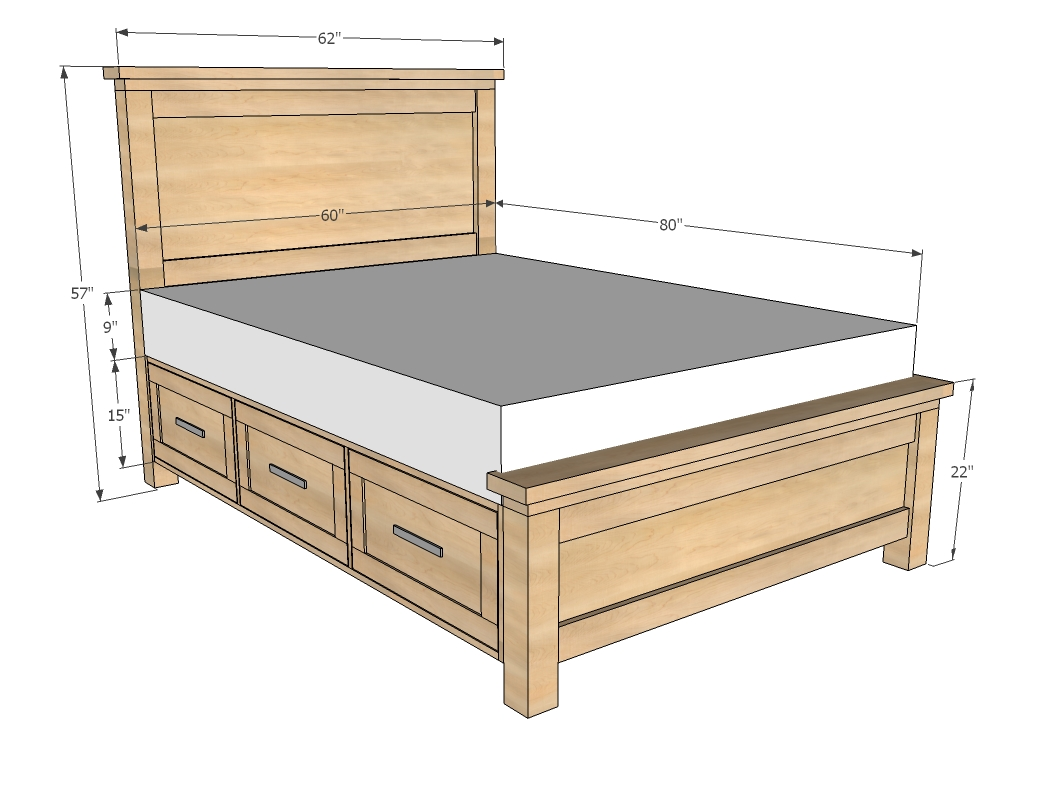 King Platform Bed Frame With Drawers Plans