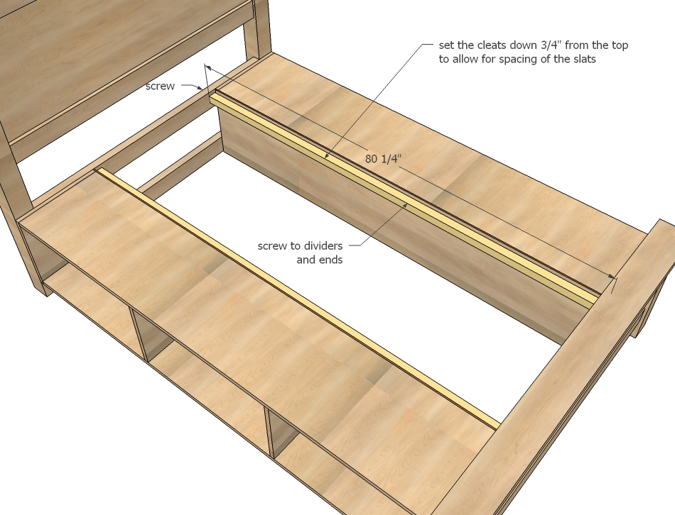 storage bed woodworking plans step 15