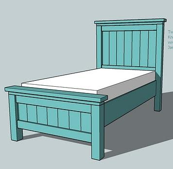 Twin farmhouse bed woodworking plans woodshop plans for Farmhouse style bed