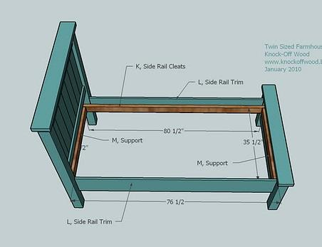 Twin Farmhouse Bed Woodworking Plans