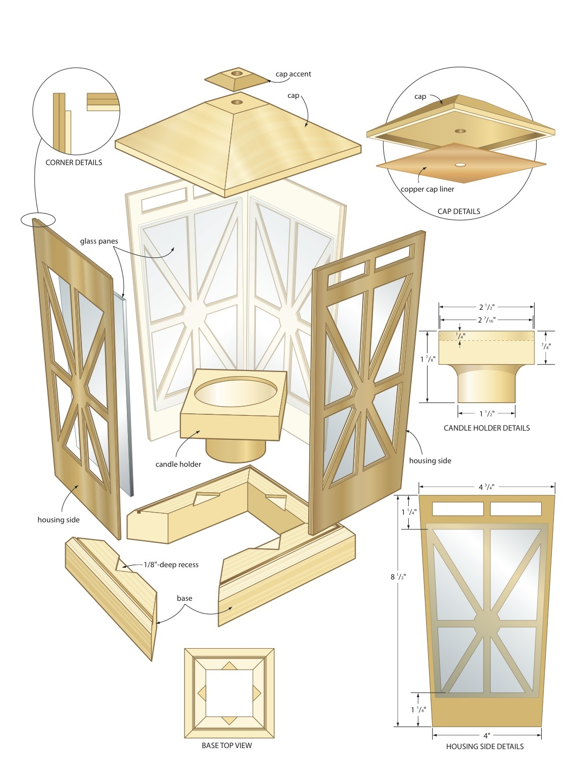 Candle lantern woodworking plans woodshop plans for Woodworking drawings