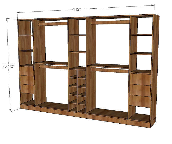 Closet storage organizer woodworking plans woodshop plans for Wardrobe cabinet design woodworking plans