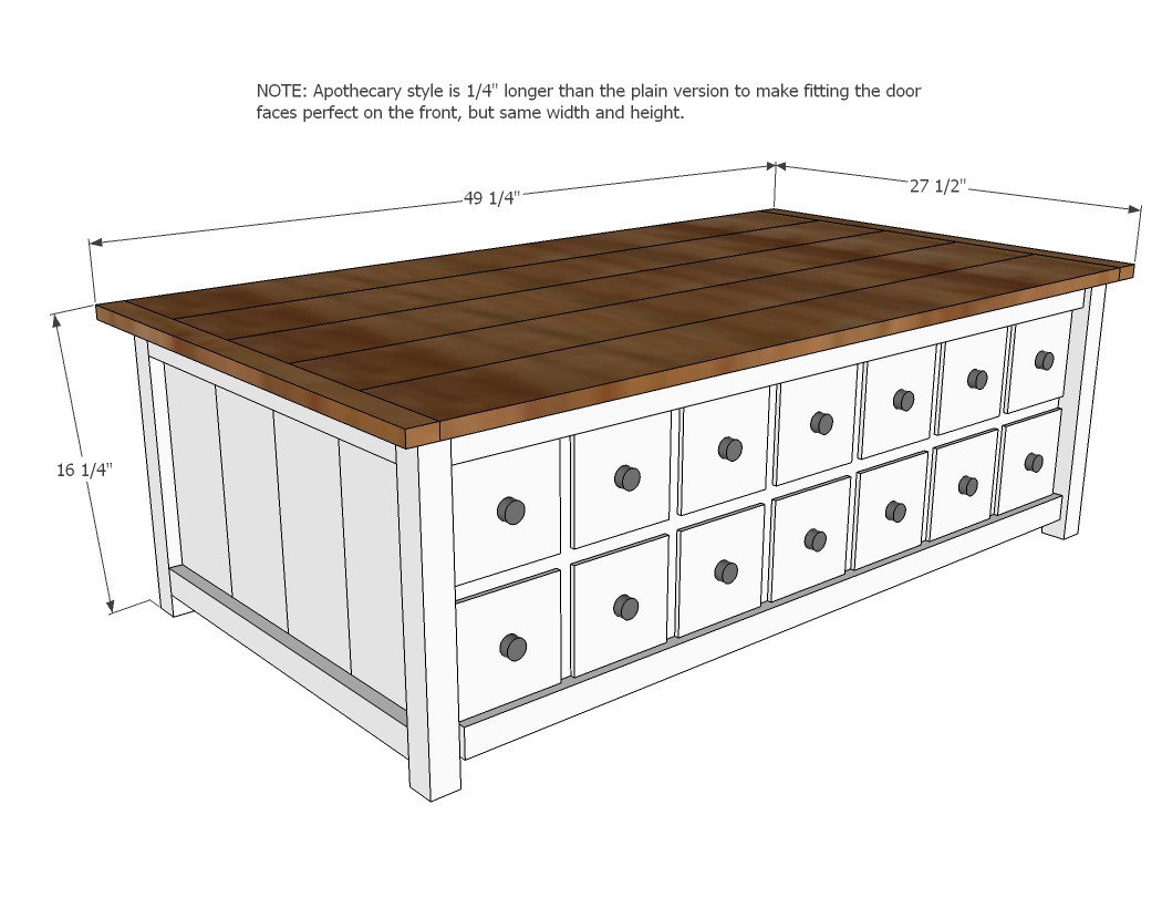 Apothecary Coffee Table or toybox woodworking plans - WoodShop Plans