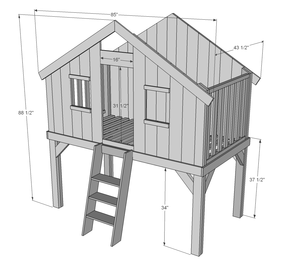 ... bed with stairs diy playhouse loft bed with stairs clubhouse bed plans
