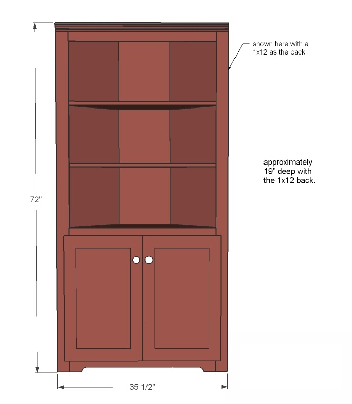 Corner cupboard woodworking plans woodshop plans for Wood hutch plans