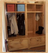 Entryway Storage Woodworking Plans | Interior Decorating Tips
