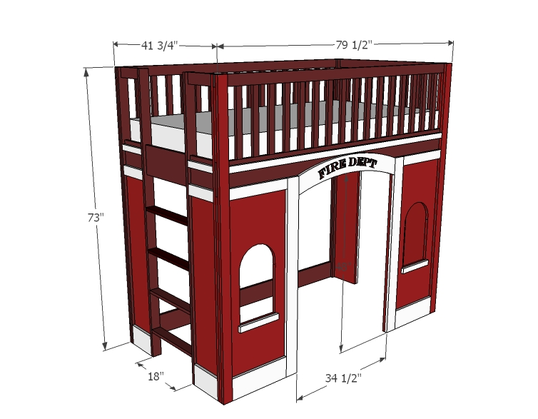 Fire station loft bed woodworking plans woodshop plans - Fire engine bed plans ...