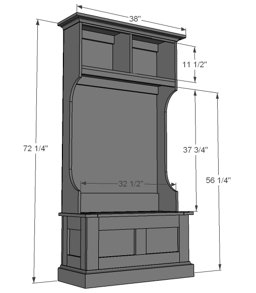 Hall tree hutch woodworking plans woodshop plans for Hall woodwork designs