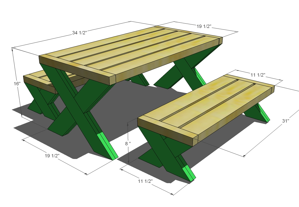 Plans For A Picnic Table And Benches Quick Woodworking Projects