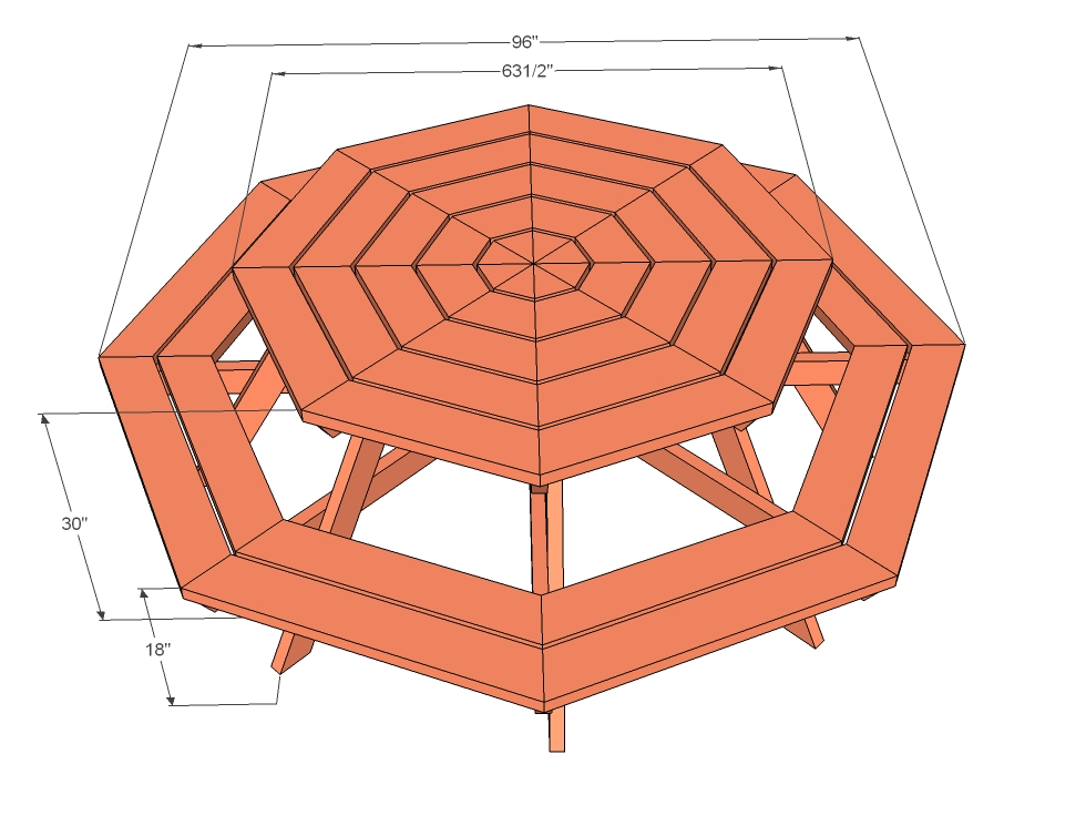 tables free octagon shaped picnic table plans hexagon picnic table