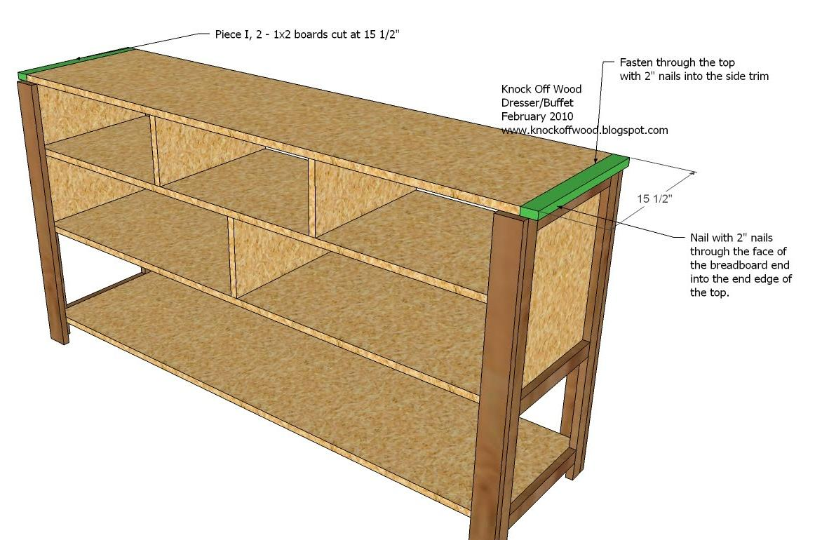 Dresser with open shelves woodworking plans woodshop plans for Making simple drawers