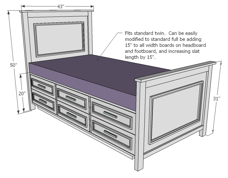 Woodwork Twin Bed Plans With Storage PDF Plans