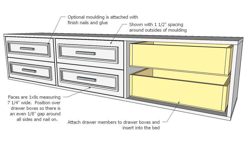 bed plans drawers underneath