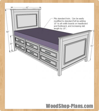 twin storage bed woodworking plans - WoodShop Plans
