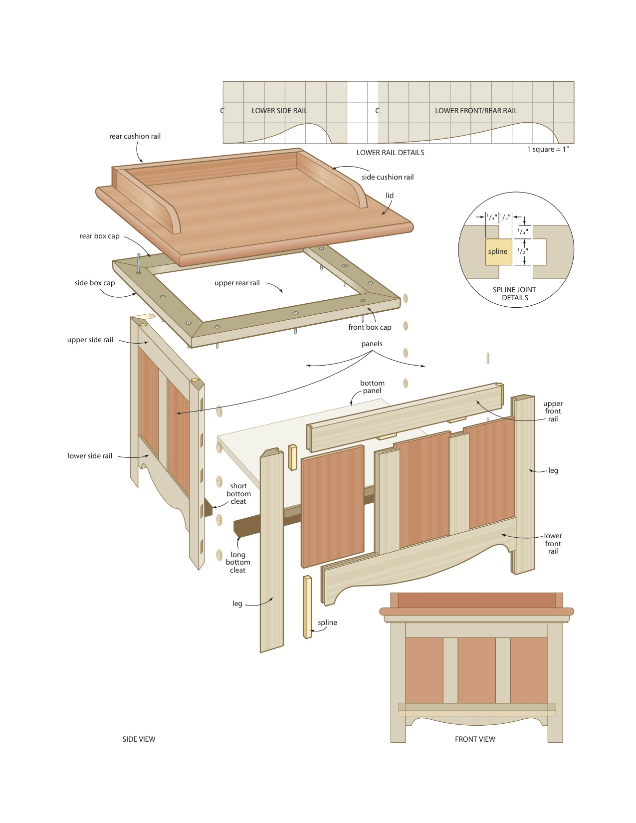 plans a bench with storage