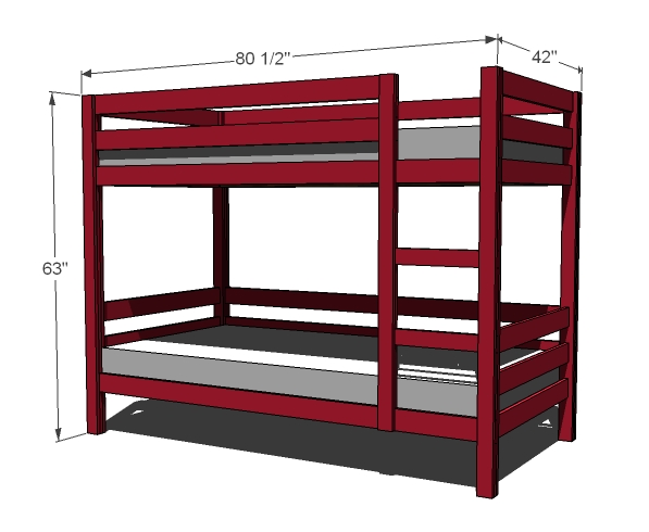 Bunk bed woodworking plans woodshop plans for Bunk bed woodworking plans